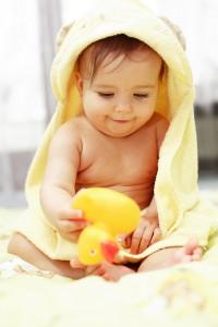 Cute baby after bath